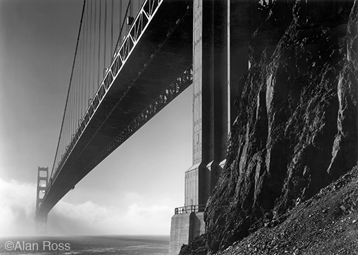 """Golden Gate Bridge, North Tower"" fine print by Alan Ross, at Sun to Moon Gallery"