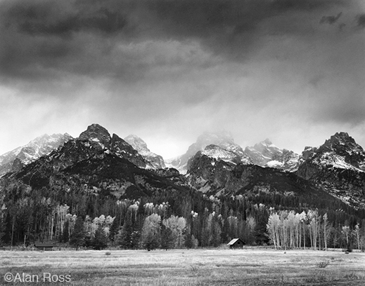 """Cabin, Grand Tetons"" fine print by Alan Ross, at Sun to Moon Gallery"